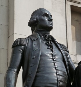 George Washington, an unlikely cousin of H.R.H. Prince George (statue in Trafalgar Square, London).
