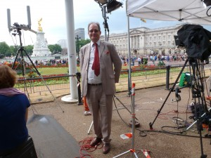 Myself amongst the media encampment at Canada Gate, opposite Buckingham Palace