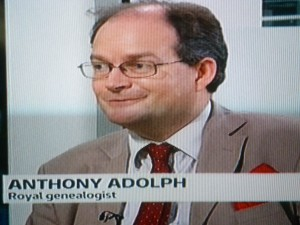 Myself on the ITN news. As the day wore on I seemed to graduate in the captions from 'genealogist and author of the King's Henchman' to plain 'Royal Genealogist'