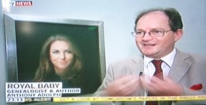 Filming for Sky news in front of Paul Emsley's portrait of the Duchess of Cambridge in the National Portrait Gallery.