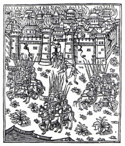 Francus, Aeneas and Antenor leave the burning city of Troy to start populating Europe with descendants of the Trojans, in Jean Bouchet's 'Les Anciens et modernes Genealogies' (1531) – an example of mythological ancestors invented to provide a bridge between more recent, real ones and the entirely imagined progenitors of humanity.