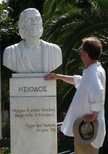 Meeting Hesiod, the first known, named genealogist, in his home town of Askra, Greece.