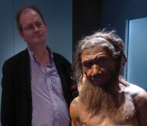 Meeting a model Neanderthal at the Natural History Museum's wonderful exhibition , Britain: One Million Years of the Human Story, in 2014. Very recent genetic discoveries prove that such ancient inhabitants of Britain were ancestral to us all.